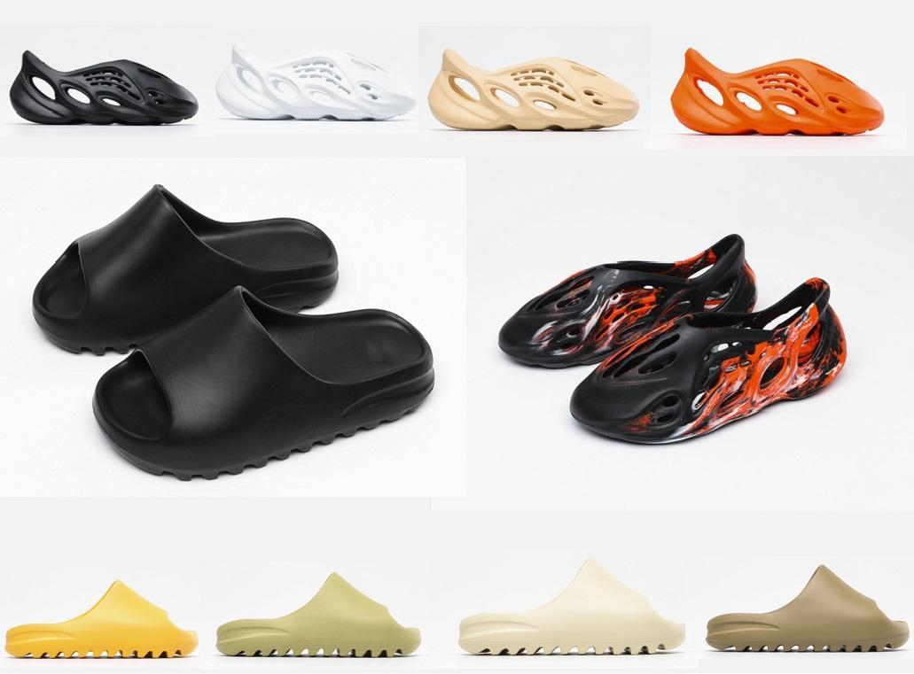 Klasik terlik erkekler kadınlar çocuk yeni köpük yolluk sandalet terlik siyah beyaz kemik reçine çöl lüks tasarımcı slaytlar sandalet terlik