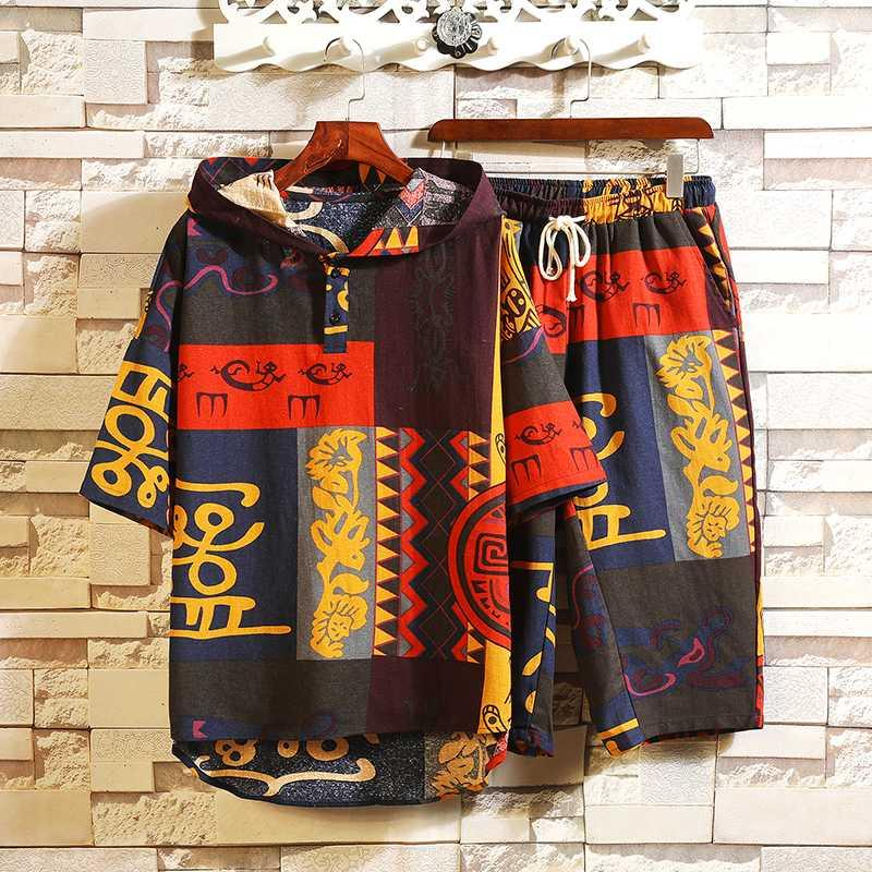 2020 uomini casuali camice Cappuccio T + bicchierini 2 pezzi tuta Imposta Maschio stile cinese Streetwear tute