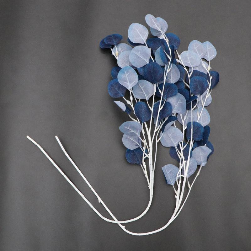 Disposición 2pcs imitación realista de la planta hojas de eucalipto rama de la flor accesorios de fotos Decoración de la sala de estar Oficina del coche (azul) w5wf #