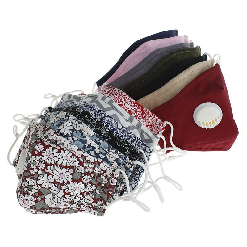 Máscaras Adulto reutilizáveis ajustável Earloops Cotton PM 2,5 Dustproof máscara máscaras lavável cara com a respiração Válvula