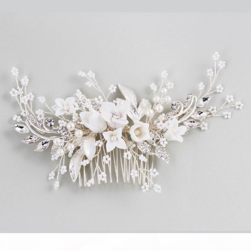 Dower mí Accesorios impresionante pieza floral casco nupcial peine del pelo de la bodas de plata de la joyería de perlas mujeres Prom pelo S918