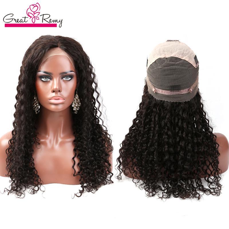 GreatRemy® Malasia Ola rizada profunda de ondas humanas Pelucas delanteras de encaje del cabello 10-24 pulgadas Peluca de encaje completo Color natural Pelucas de encaje sin glotura 150% de densidad minorista