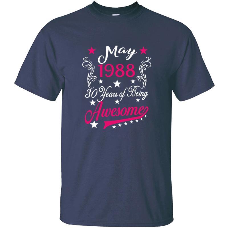 Design Femmes 30ème anniversaire T-shirt mai 1988 30 ans de T-shirt homme impressionnant Kawaii T-shirts ras du cou