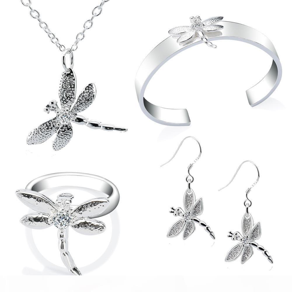 Libellule Parures Collier Bracelet Boucles d'oreilles Bague en argent sterling Mode Bijoux Bijoux New Arrival de Nice Cadeau de Noël Livraison gratuite