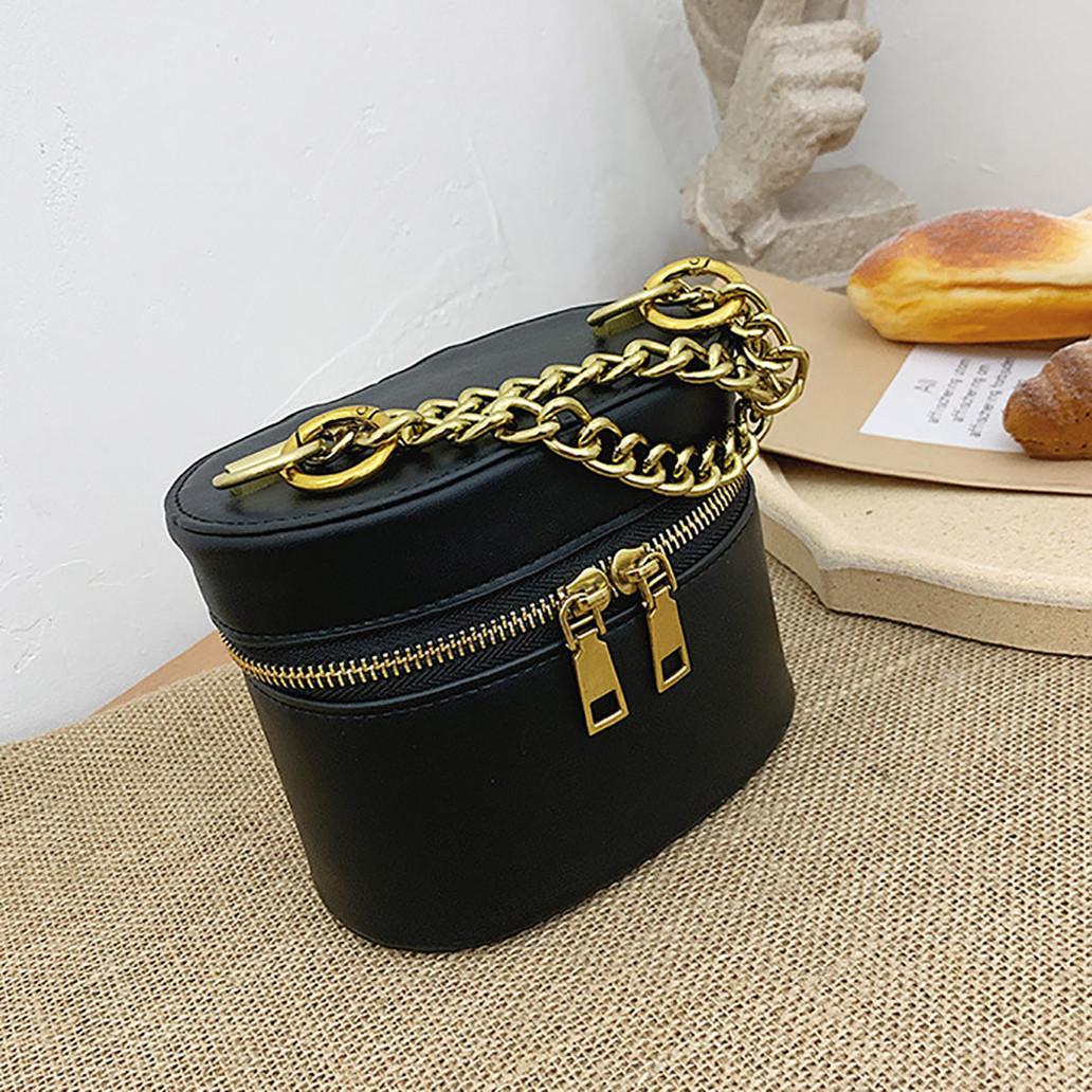 Las señoras de bolso de hombro de Fashion Negro cremallera bolsa de mensajero del cubo del bolso de Crossbody de las mujeres bolsos Torebki DAMSKIE 20