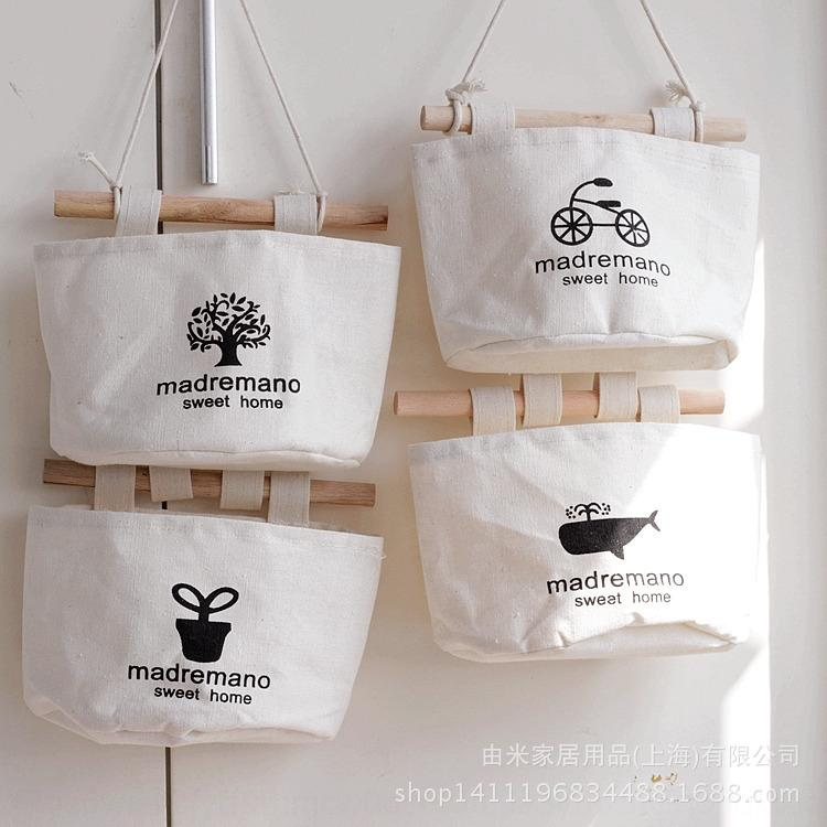 tissu en dentelle multi-couche japonaise et coréenne sac de rangement tenture dentelle coton nostalgique et sac de rangement de linge derrière la porte du mur