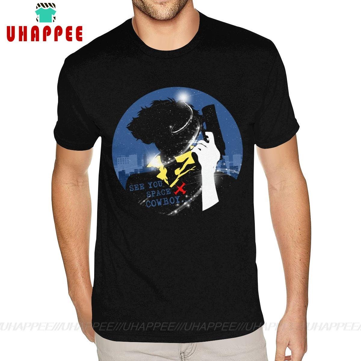 Erkekler Küçük Boy Siyah Tee Gömlek için İnce Cowboy Bebop T Shirt Beyaz Kısa Kollu