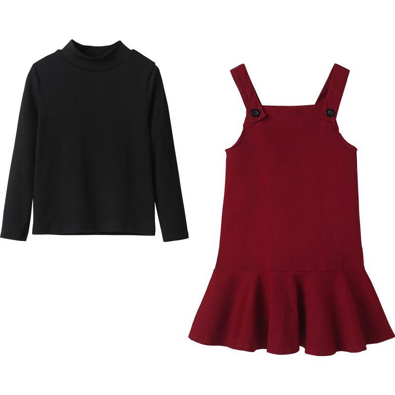 Mädchen-Kleidung Set Herbst 2020 neue Kinder Hemd und Suspander Kleider Set Baby-Klage Baumwollbeiläufiges Kleinkind Zwei-teiliges Set, # 8915
