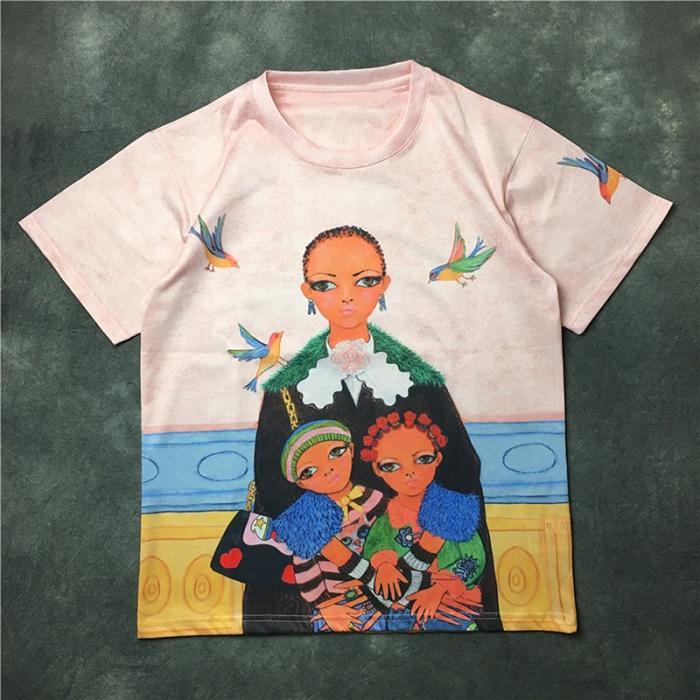 Los hombres y las mujeres de las niñas de la calidad de impresión de manga corta floja de la camiseta de las señoras de moda casual de manga corta talla de camisa S-XXL