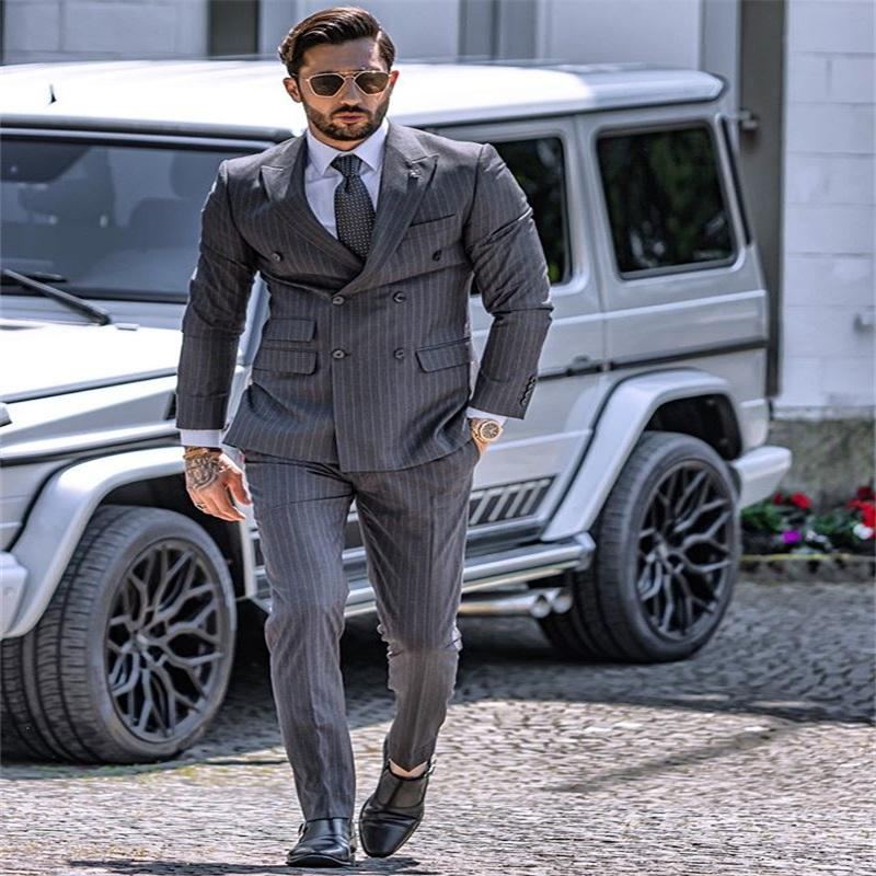 Newest Handsome Dark Grey Stripes Mens Suit New Fashion Groom Suit Formal Wedding Suits For Best Men Slim Fit Groom Tuxedos For Man