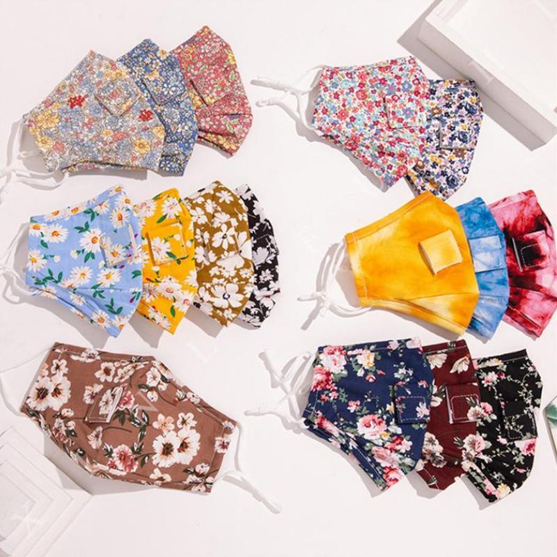 16 Art Tie dye Strohblumen Maske mit Getränk Loch gedruckt staub- Gesichtsmaske Außenschutzmundmaske YYA273