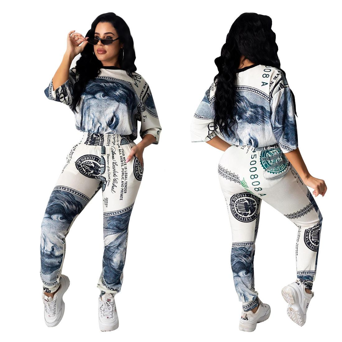 Free Ship 2020 New Women Fashion Dollar Print Tracksuit Casual Crew Neck T-shirt and Pants Set 2Pcs Outfits