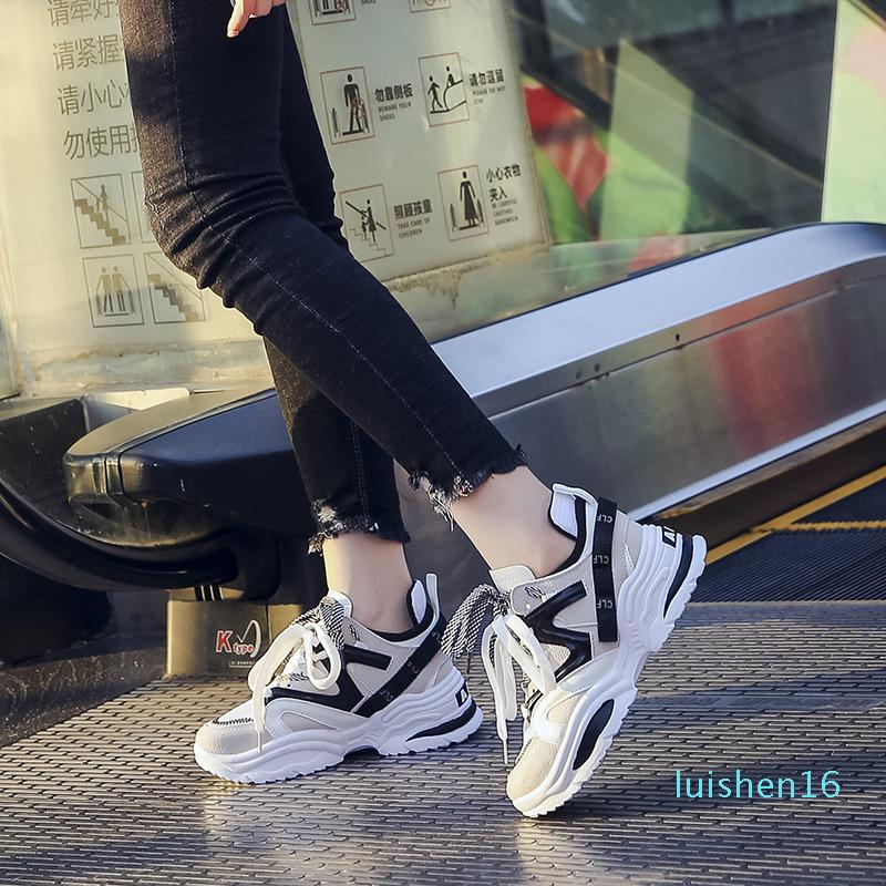 Les femmes Wedges Mode papa Sneakers Nouveau Femmes Tenis Chaussures 2019 Chaussures Plate-forme Flats Femme Chunky Sneakers L16