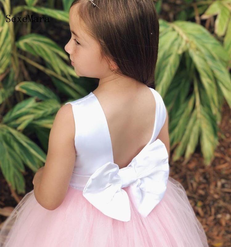 Vestidos de festa personalizada Nova Vestidos menina Rosa Branco Primeira Comunhão vestido para a menina V Voltar A-Line aniversário