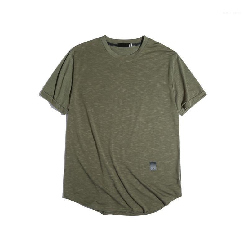 Moda Deri Kasetli Doğal Renk Tişörtler Casual Mürettebat Yaka Kısa Kollu Tişörtler Erkek Giyim Erkek Tişörtler
