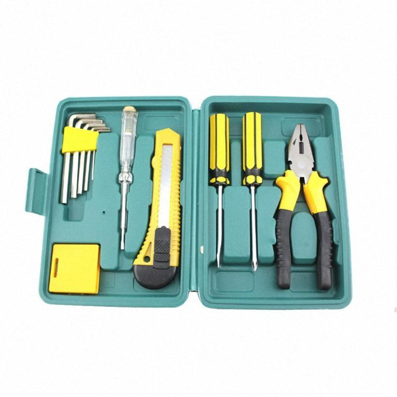 Set Toolbox Set Tool Mini 12-Piece Tool Hardware Combination Toolbox Household Multi-Function Box gvNg#