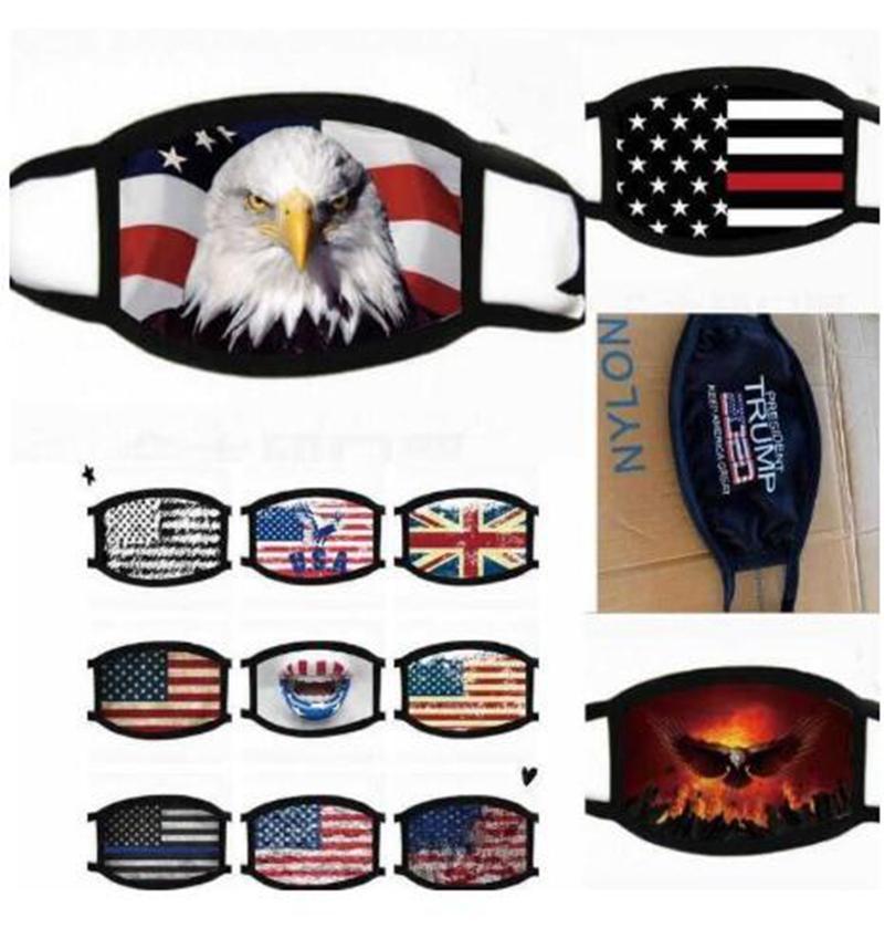 18Style Trump Máscara Facial Algodão Trump 2020 Máscaras pano Anti-poeira máscara Mulher Homens Moda Unissex inverno quente Máscaras Black Flag US GGA3546