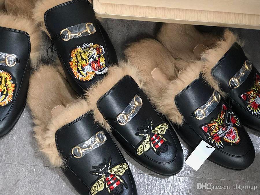 Designer Fur Mule Princetown chinelo de couro para mulheres dos homens de luxo bordado chinelo de couro genuíno da lona de veludo calçados casuais US5-12