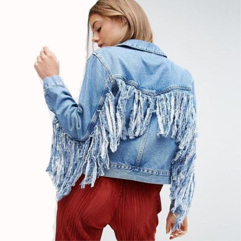 Las mujeres delgadas de los agujeros de la moda caliente de la chaqueta del dril de algodón Señora elegante chaquetas de la vendimia básico capas de gran tamaño CX200725 chaqueta de flecos de mezclilla
