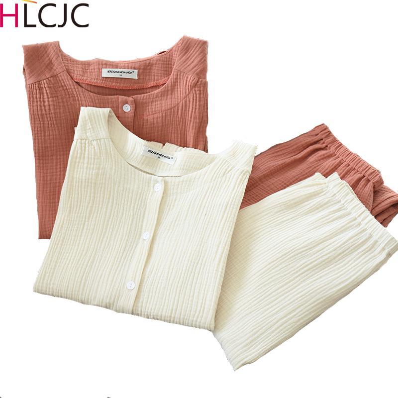 2020 neue Herbst-Baumwolle Krepp langärmelige Hosen Pyjamas für Damen Nachtwäsche Pyjamas Frauen Plus Size Breath Startseite Kleidung Y200708