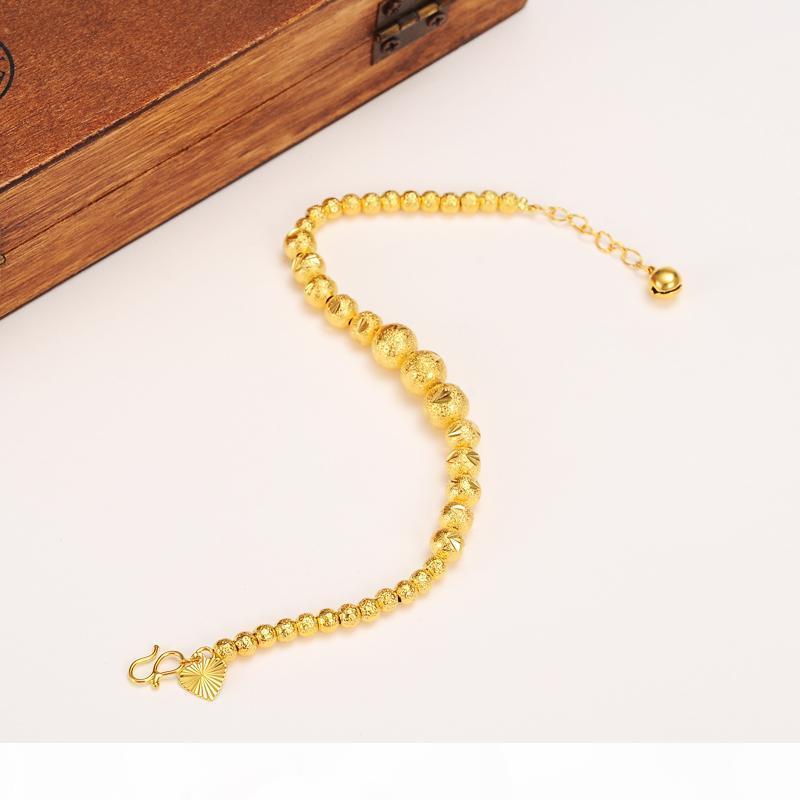 17CM + 4CM إطالة الكرة سوار المرأة 14k الذهب الحقيقي الصلبة الذهب الأصفر جولة الخرز أساور مجوهرات سلسلة اليد القلب tapestried