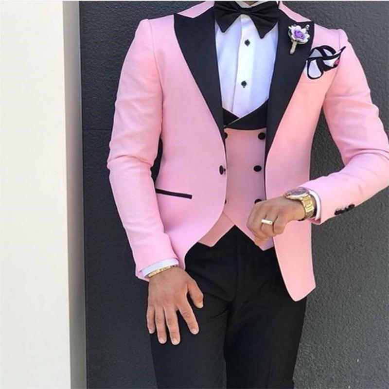 Tute tuta rosa con il nero per gli uomini del risvolto personalizzato Terno Slim sposo personalizzate abiti 3 pezzi da sposa (Jacket + Pant + Vest)