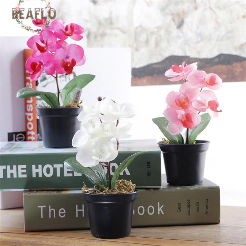 1PC Silk Cloth Artificial Flowers Butterfly Orchid With Mini Set Potted Simulation Fake Bonsai Home Party Decorations