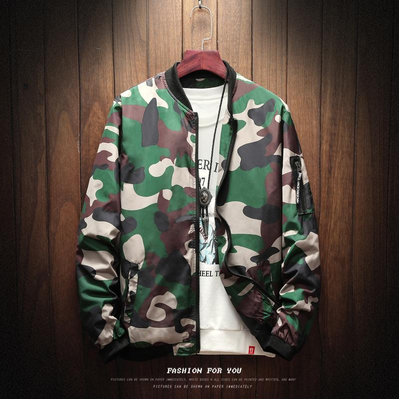 Femininos Outono Camouflage Jackets nova chegada Masculino Coats Camo Bomber Jacket Mens Marca Roupa Exteriores Plus Size