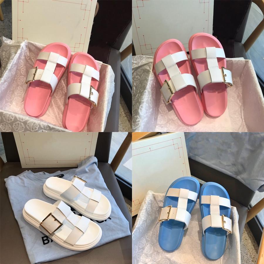 Arco iris de piel Diapositivas mujeres de primavera y verano Inicio Zapatillas Dos de piel de estilo flip flop Cadenas Señora Bling decorar Enfriar Mules Zapatos Mujer # 449