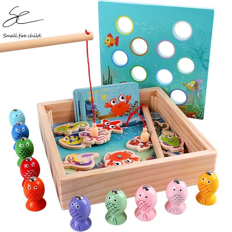 Children Wooden Toys Magnetic Games Fishing Toy Game Kids 3D Fish Baby Kids Educational Toys Outdoor Funny Boys Girl Gifts T200801