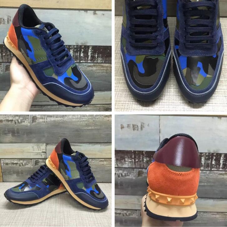 Nuevo de la manera del perno prisionero de camuflaje las zapatillas de deporte Calzado Hombres Mujeres Pisos de lujo de diseño Rockrunner Zapatos de la zapatilla casual