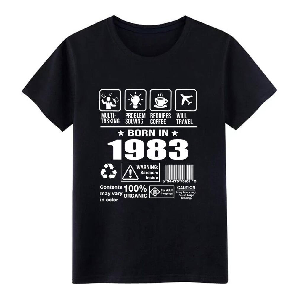 Nacido En 1983 camisa diseño de la camiseta de punto de cuello redondo Patrón Digital La luz del sol de primavera original otoño de los hombres