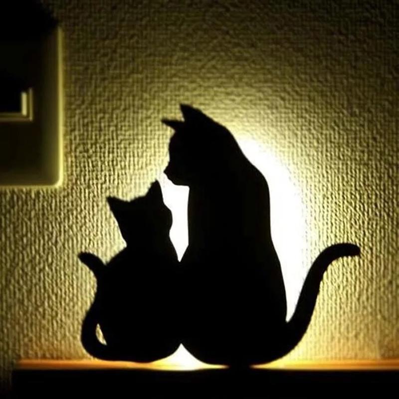 Dormitorios en la lámpara de pared del gato mini animal de la historieta del gato del perro de la silueta del LED embroma la voz + luz del sensor de la noche las luces de emergencia 10126