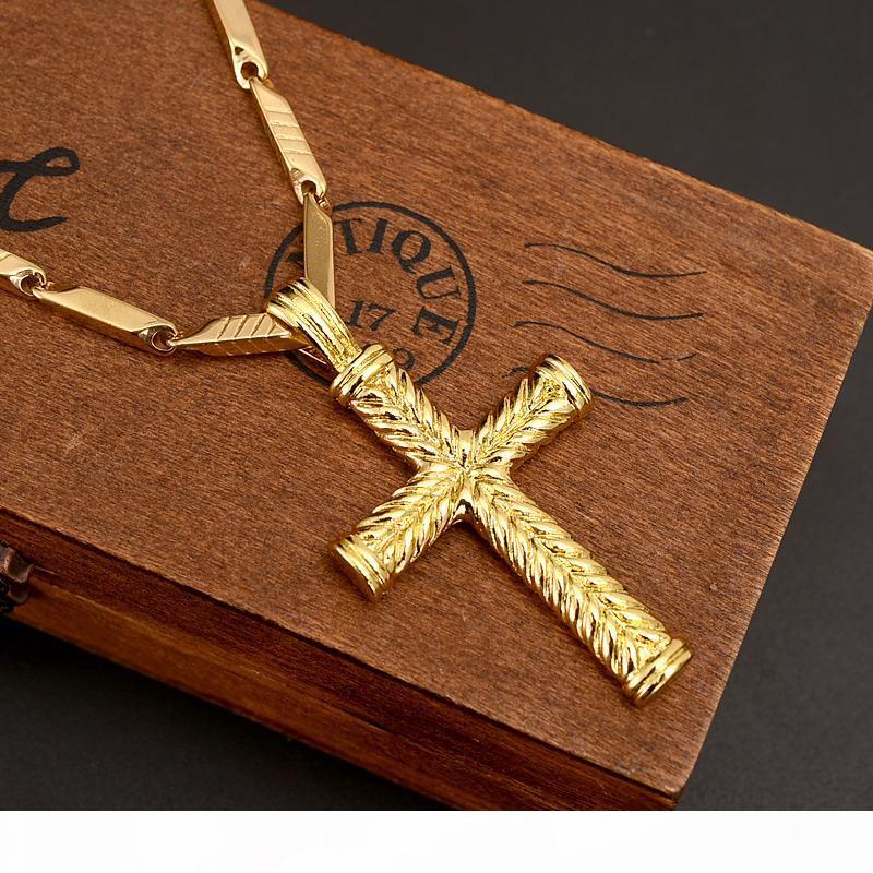 14k sólido fino collar de los encantos del oro GF líneas colgante de mujeres de los hombres de moda cruz cristiana fábrica de joyas wholesalecrucifix dios regalo
