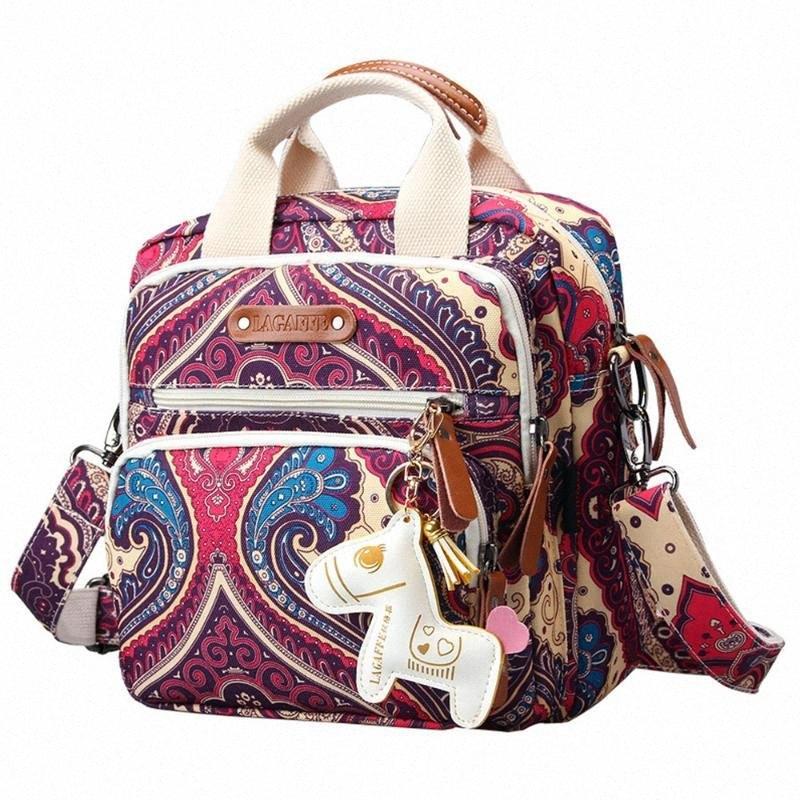 Pañal del bolso de múltiples funciones Mochila cuidado de la madre bolsa de viaje Mochila cochecito de bebé Bolsas Pañal para la mama con el caballo Adornos vIi5 #