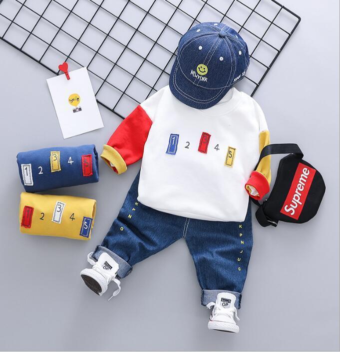 Детская одежда Корейский моды цифровой 123 подбора цвета вокруг шеи свитер удобной ткани для детской весной