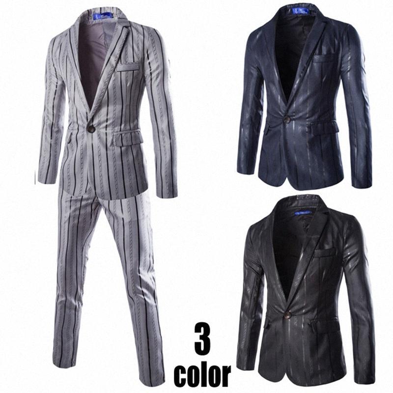 (Jackets + Pants) Uomo vestito di affari Imposta Slim Fit Tuxedo vestito convenzionale Completo alla moda di marca Blazer Nozze di cotone per gli uomini akYy #