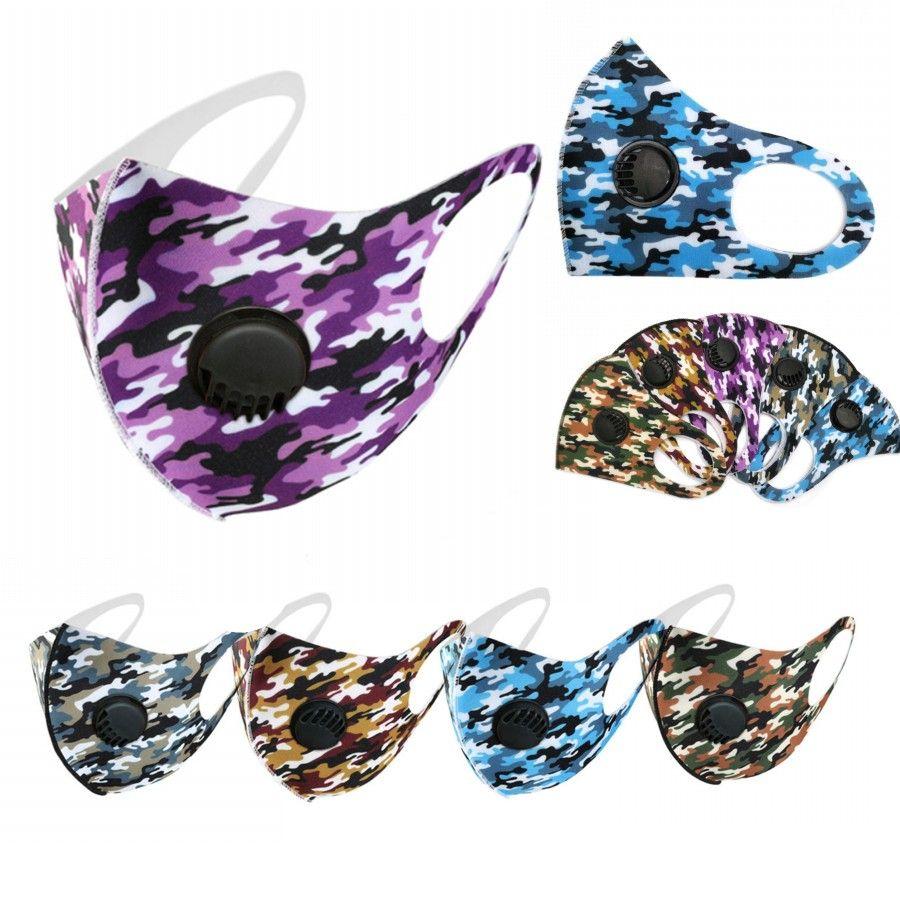 EM ESTOQUE Designer Adulto Ice cara Silk Máscaras Camo American Flag personalizado Respirar válvula de protecção Dustproof Earloop pano Máscaras FY0066