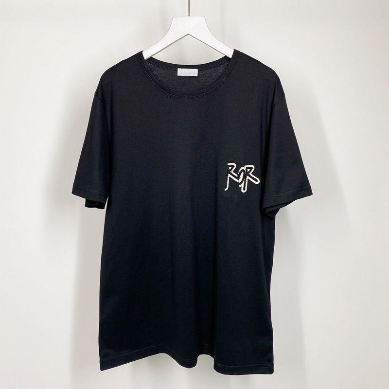Mejor Carta de toallas bordado de color sólido camiseta de los hombres de las mujeres de alta moda de la calle de vacaciones de verano camiseta ocasional transpirable de manga corta HFYMTX929