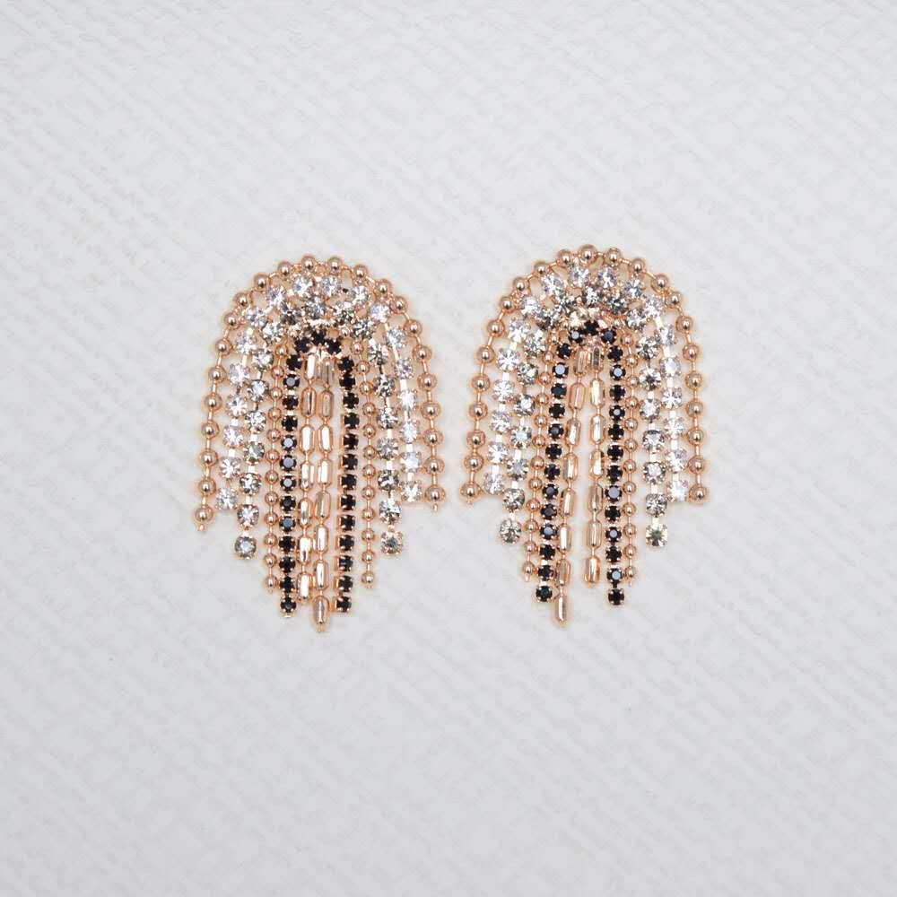S925 Dongdaemun nueva forma de U pendientes borla irregulares, pendientes de la cadena de diamantes de imitación de perlas, venta caliente transfronteriza