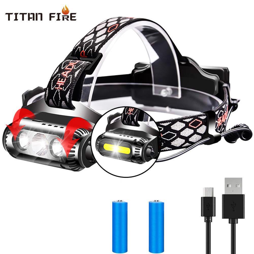 10000 Lumens T6 XPE LED Farol 2 lados Rotating 3 modos Fonte de Luz 8 Multi-Function COB USB Farol