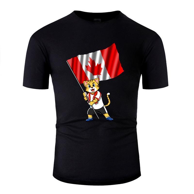 Канада Вентилятор Cat Встроенная тенниска для мужчин Юмор Комиксы Tshirts круглого воротника Gents 2020 Plus Размер S-5xl футболочки