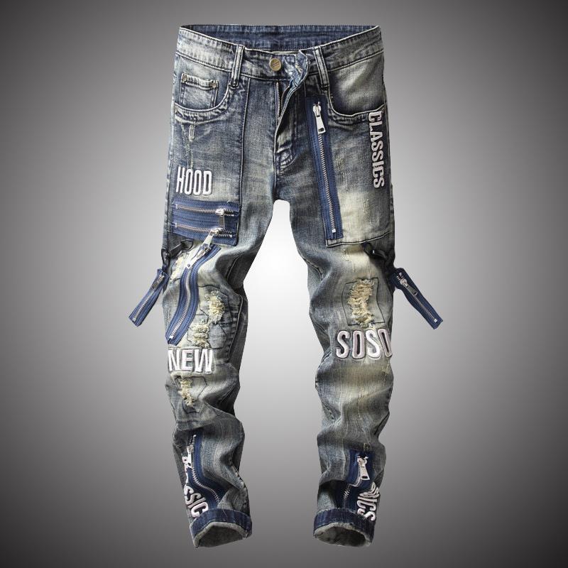2020 Nouveau Mode Vintage Moto Biker Jeans Hommes Hip Hop Streetwear Ripped Pantalons Denim Pantalons Zipper Vêtements Homme Slim Fit BP011