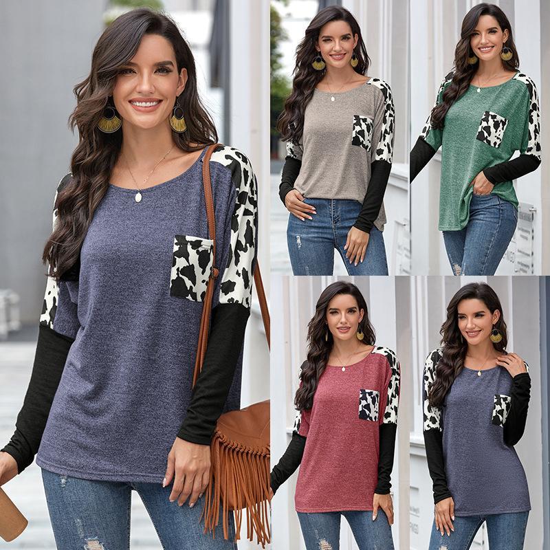 Maglietta delle donne Leopard T-shirt manica lunga stampa girocollo Top Base T shirt casual Harajuku Camisas De Moda Mujer