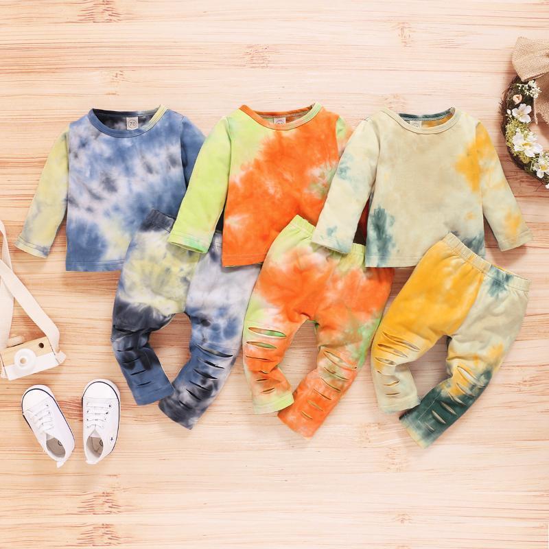 0-24M Kind-Kind-Bindung färben Kleidung Set-Kleidung-Baby-Jungen-Mädchen-2Pcs Homewear Pyjama Sets Langarm Hosen Oberteile Outfits