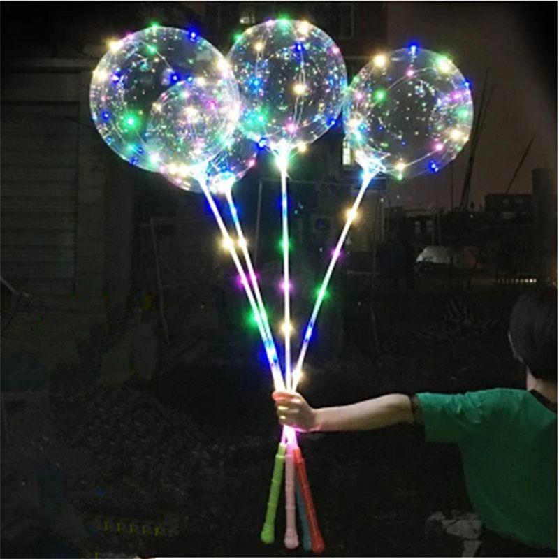 LED luminoso LED Bobo Balloon Balloon Lampeggiante Light Up Palloncini trasparenti 3M Luci di corde con manopola Grip Christmas Party Decorazioni di nozze 05