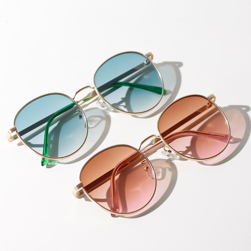 de las mujeres ovales gafas de moda estilo de los vidrios populares semi metal retro gafas de sol de espejo nueva llegada de la aleación WEIXINBUY Adultos