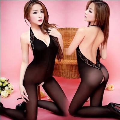 Холтер Backless прозрачно открытая промежность пригонки сексуальное нижнее белье пижамы Body-чулок Sling белье кружева женщин набор L кружева