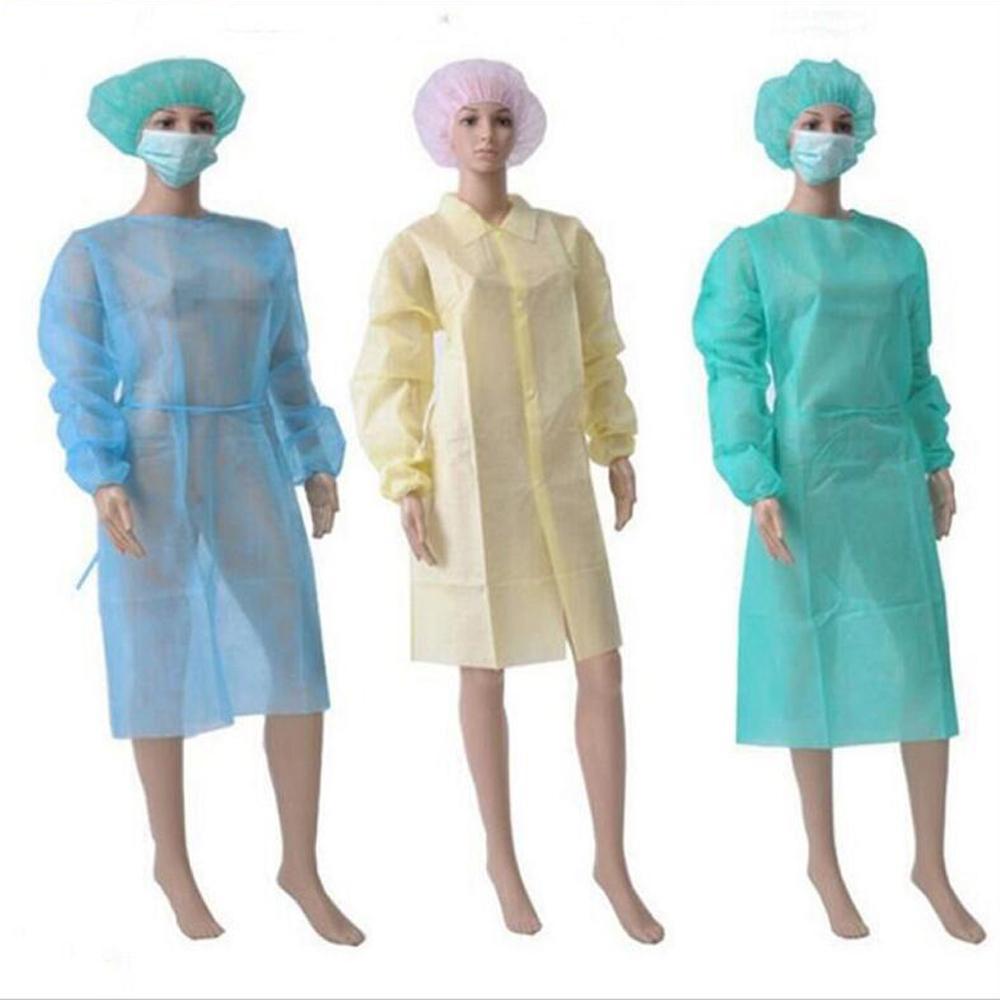 Robe de protection jetable isolement de protection Vêtements enveloppe anti-poussière pour femmes Hommes Suit d'isolation anti-particule anti-particules 3 couleurs