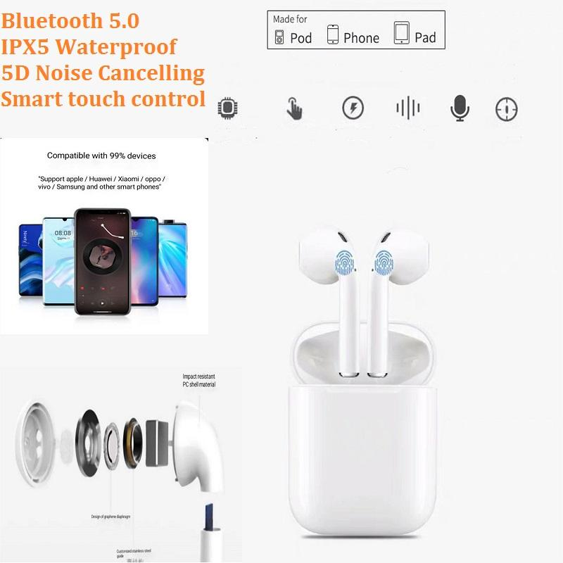 i12 tws true wireless stereo iphone earphones univeral 5V 2A in ear wireless bluetooth headphones for andriod 5D noise cancelling
